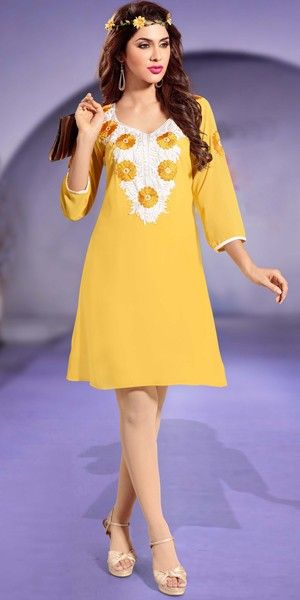 Awesome Yellow Patch Work Georgette Kurti.