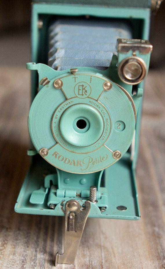 Vintage Green Kodak Petite Folding Camera with Original Bellows - Rare I love it! And the colour....