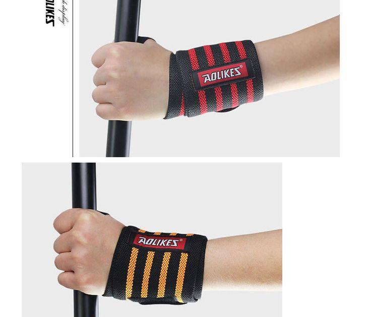 O envio gratuito de 2 pçs/lote Pulseira Apoio para o Punho da Segurança Do Esporte de Levantamento de Peso Ginásio Treinamento Pulso Cintas Bandagem Aptidão Wraps