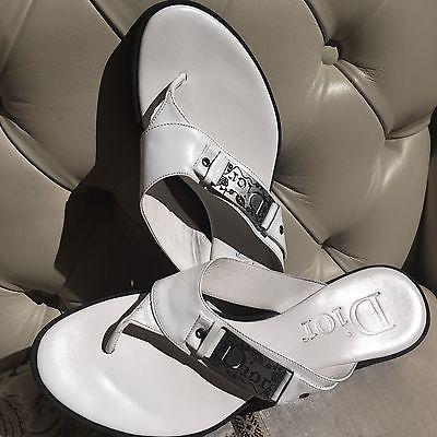 Christian Dior® Sandali Infradito In Pelle Bianca Suola In Gomma Nera Misura 37 | eBay