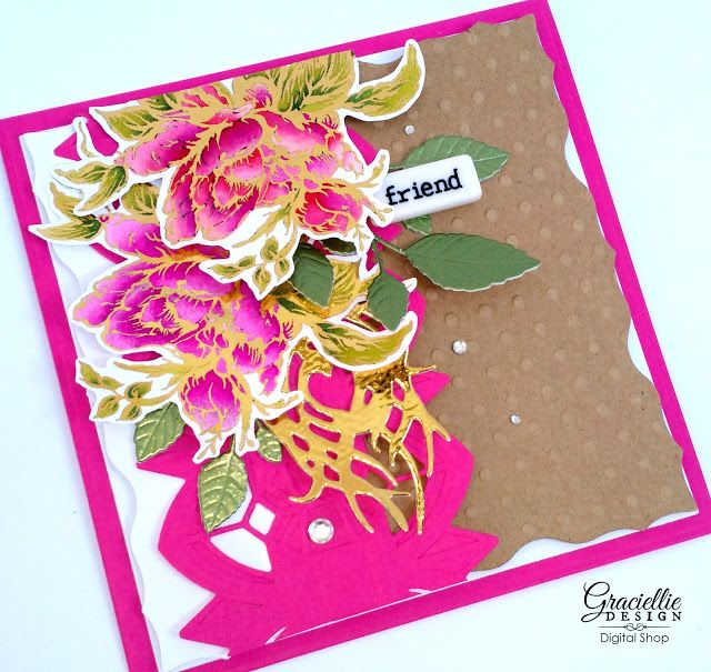Graciellie Design: Coloring Foiled Roses with Alcohol Markers + A look back to our February Digi Release