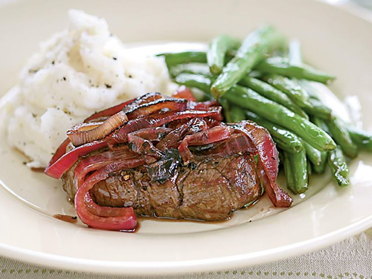 """Tenderloin Steaks with Red Onion Marmalade 