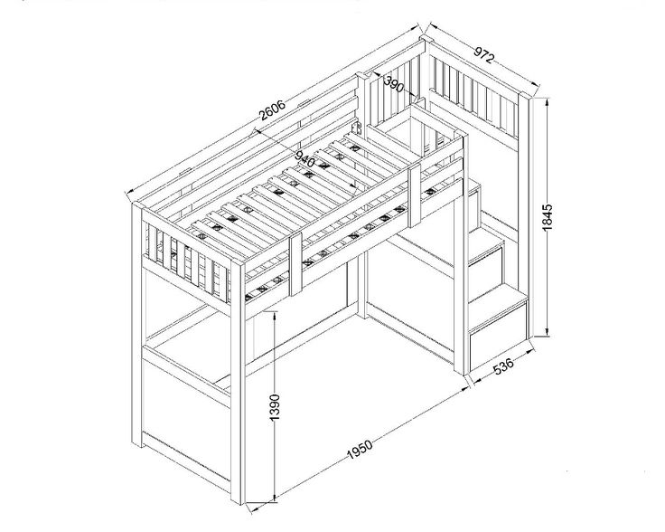 childrens furniture - Neutron High Sleeper Bed technical spec