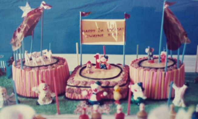 1987 - 1st Birthday Circus Cakes my own invention to cater for a household of guests! Musk sticks surrounding each cake, butter icing covered all over.