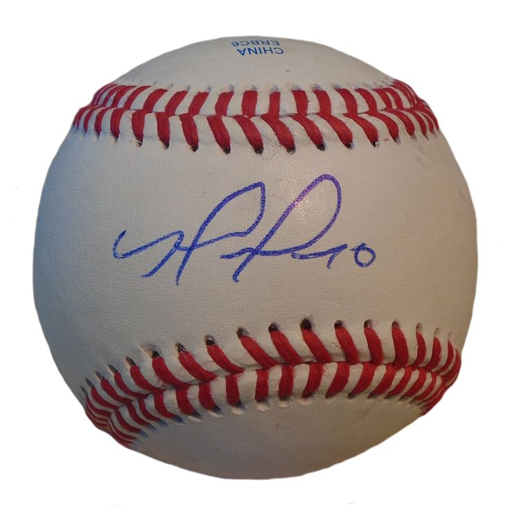 Yohander Mendez Autographed Rawlings ROLB1 Leather Baseball, Proof Photo