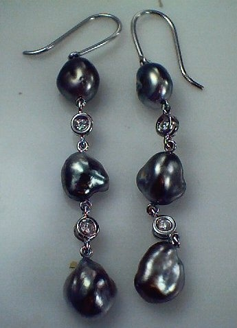 18ct White Gold Black Keshi #Pearl and Diamond Drop #Earrings