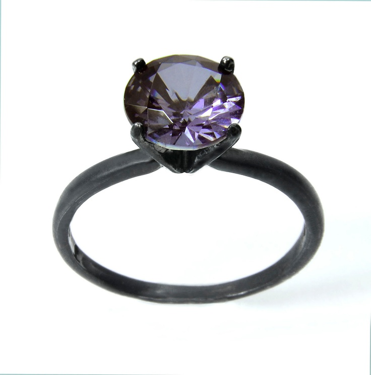 Amethyst Ring in Sterling Silver, Tiffany 4 Prong Set Amethyst Ring in Solid Silver. $99.87, via Etsy.