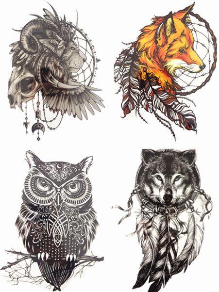 Zapisać Więcej! 4 SZTUK/ZESTAW Gorąca Sprzedaż Combo Fox Sowa Wilk Lew Tymczasowy Tatuaż Combo