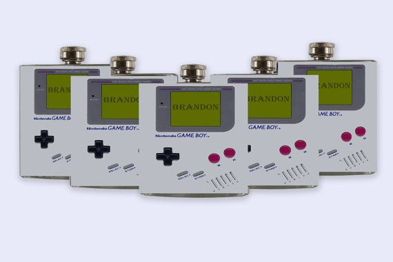Gameboy Groomsmen Flask Set  custom Flask Set gameboy by RKGrace,#wedding #etsy #gameboy