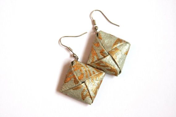 Orecchini Origami pendenti grigio e oro  Orecchini di PaperArtLab