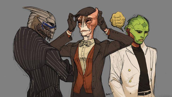 Mass Effect,фэндомы,ME art,Garrus,Mordin,Thane