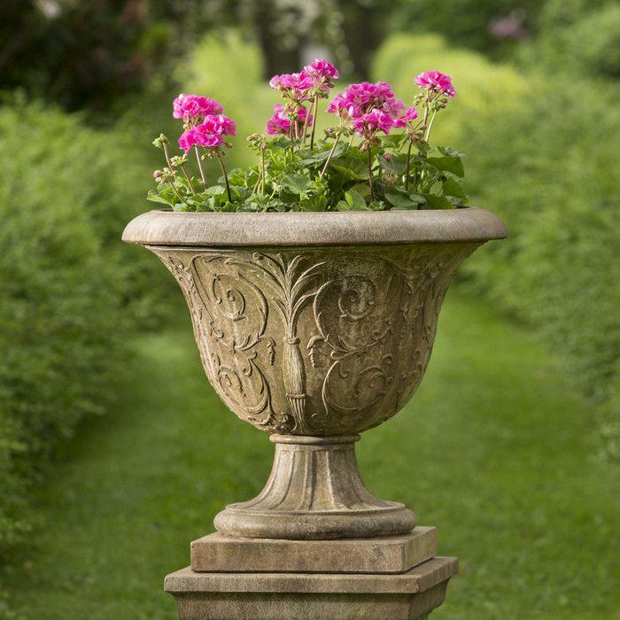 Campania International, Inc Palais Arabesque Pedestal Cast Stone Urn Planter | Wayfair