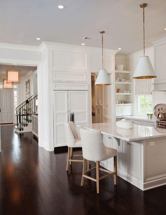 white kitchen, gold + white island pendants