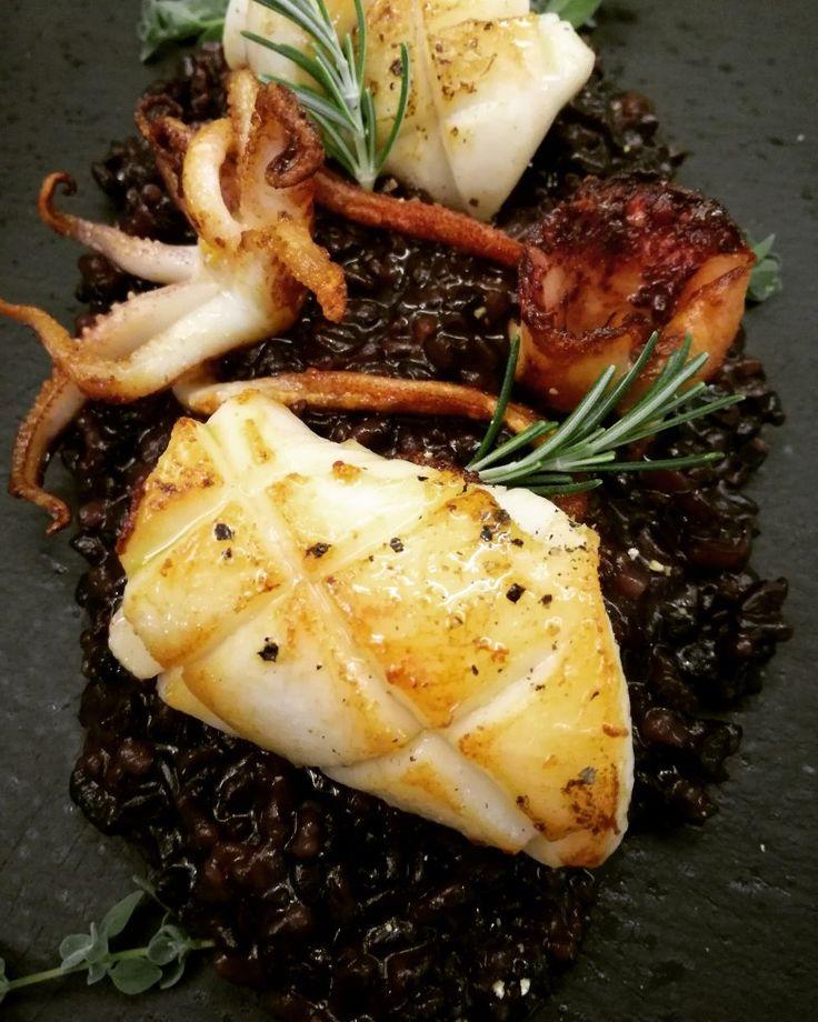 Wild black venere rice with  pan fried crispy squid