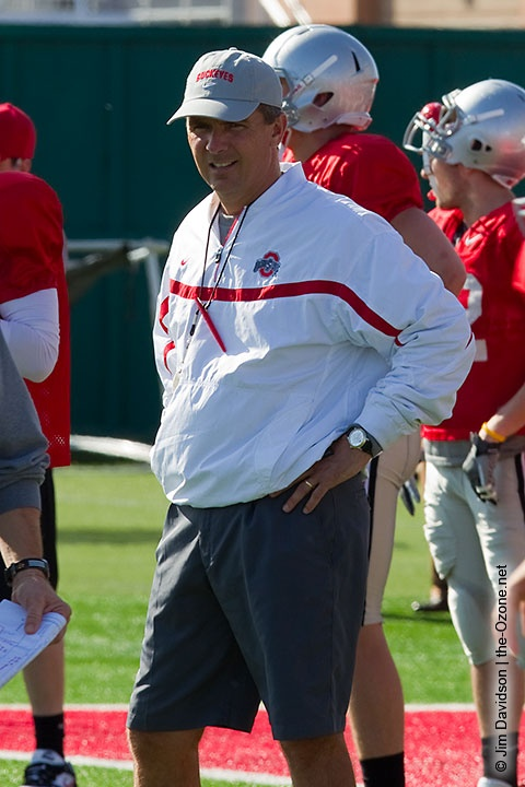 Urban Meyer looks on during Ohio State's practice Tuesday. (Photo by Jim Davidson. Gallery: http://photo.the-ozone.net/)