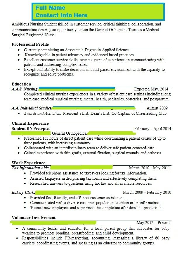 Instructor Says Resume is Wrong, Please Help With Content - med surg resume