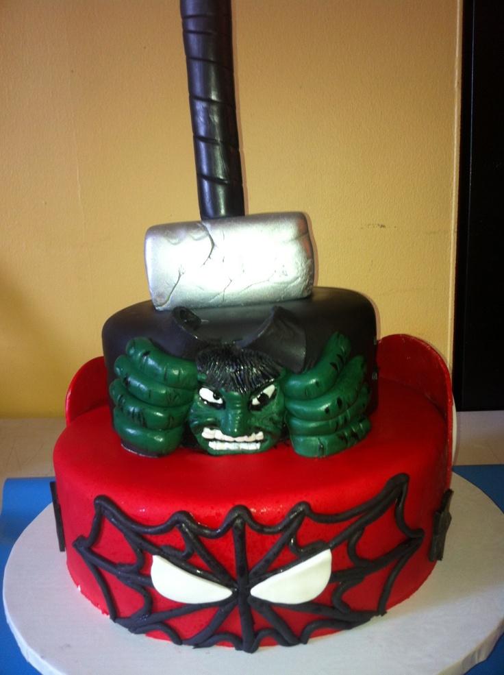Avengers Cake (Spiderman, Hulk, Thor hammer) Jackson s ...