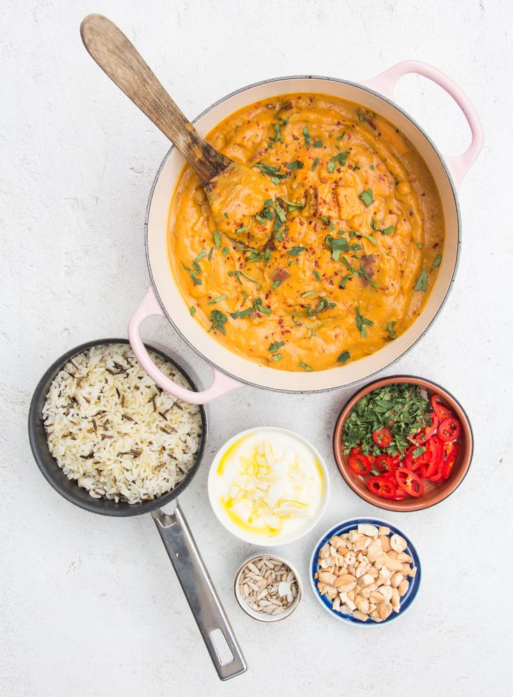 SWEET POTATO, LEMONGRASS AND COCONUT CURRY with rice, chillies and toasted cashews. Gluten free and vegan