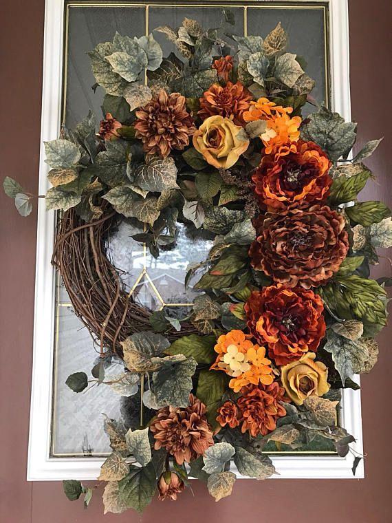 Fall Wreath Autumn Decor Peony Wreath Front Door Wreath
