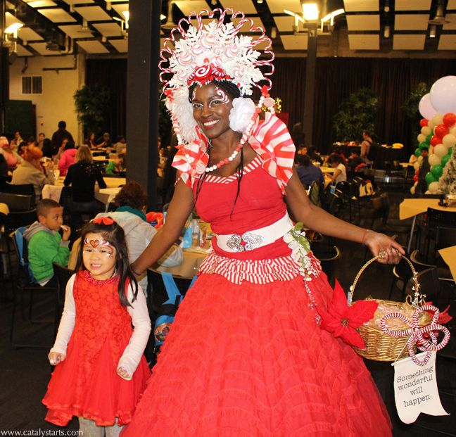 Peppermint Princess Holiday party walkabout character by Catalyst Arts Eventertainment