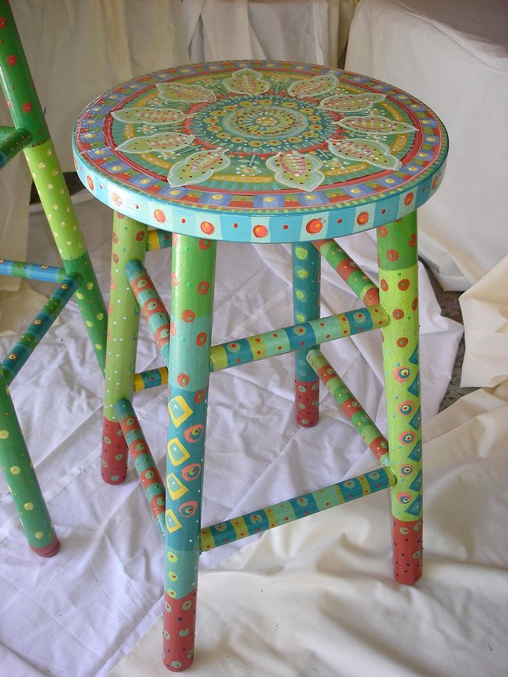 Bright Handpainted Wooden Stool