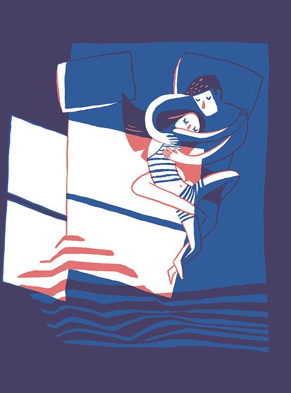Art Print Couple in Bed - romantic sweet cute giclee illustration of a couple cuddling in bed. Valentines or newlyweds. blue, purple, coral