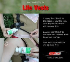 How to prevent chafing from Life Vests while Kayaking. #kayaking 2Toms SportShield prevents skin chafing. www.2toms.com/