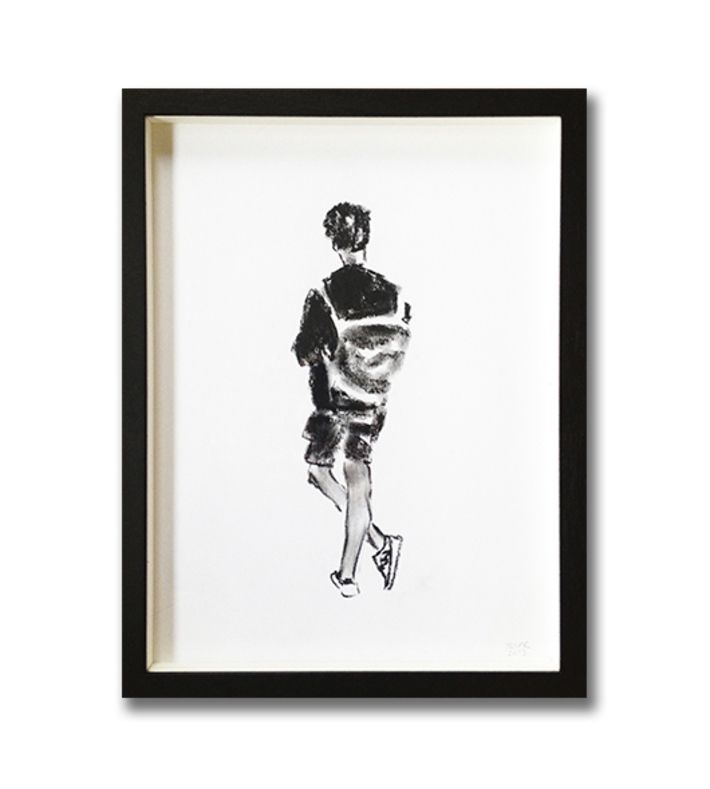 Original cole drawing in black wood frame - 30 x 40 cm. You can buy this piece here: www.artrebels.com #artrebels #blackandwhite #art