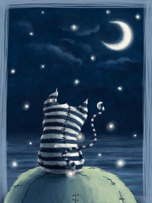 by ma4u4a: Cheshire Cat, Goodnight Moon, Art, Stars Night, Illustration, Awesome Ideas, Night Sky, Sun Moon Stars Cloud, Illustrations Style
