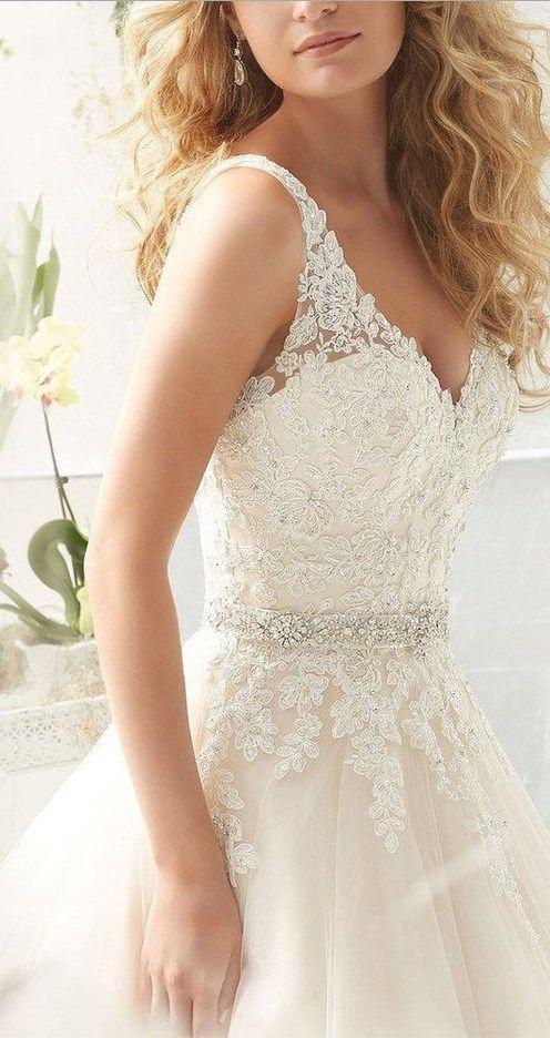 Beautiful beach wedding dress: V Neck V Back Tulle A Line Lace Wedding Dresses for Bride // More at http://www.cutedresses.co/product/v-neck-v-back-tulle-line-lace-wedding-dresses-bride/