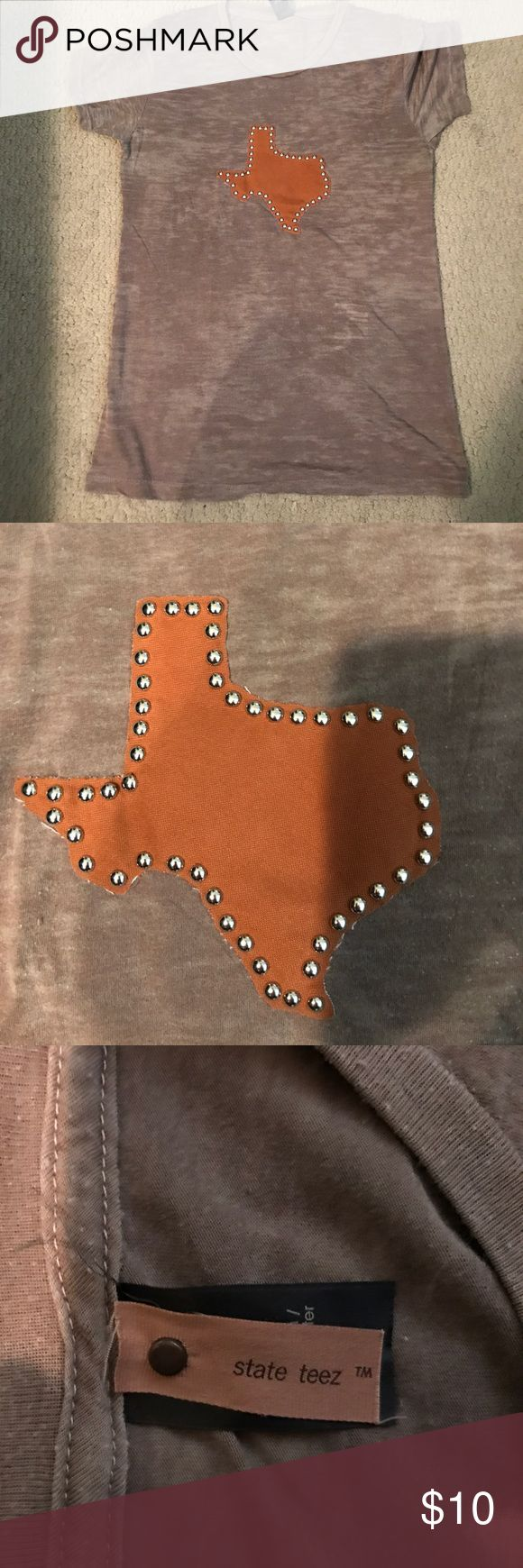 Texas appliqué burnout t-shirt Texas appliqué w silver nail stud detailing, burnt orange Texas on brown shirt, purchased in Texas boutique, soft, washed and laid flat to dry - never machine dried, nonsmoking home State Teez Tops Tees - Short Sleeve
