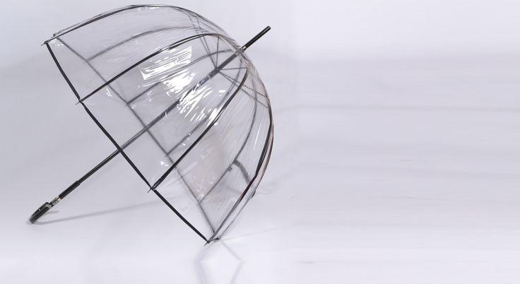 Parapluie transparent cloche avec poignée incrustée de strass