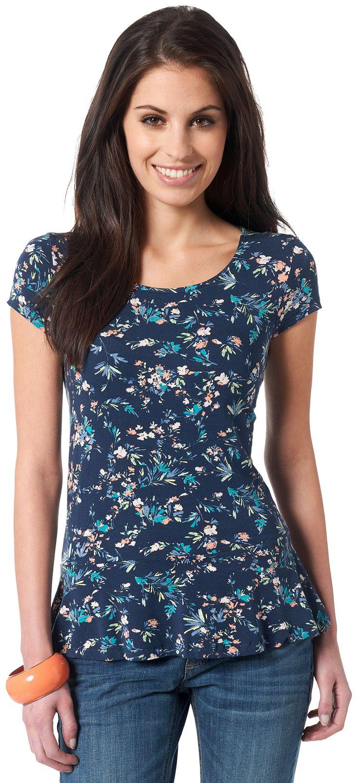 leichtes T-Shirt mit Schößchen für Frauen (mehrfarbig gestaltet)  - TOM TAILOR