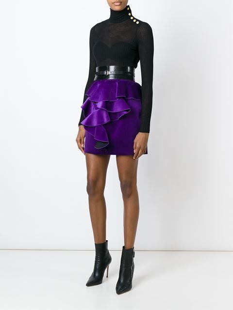 бархатная юбка с рюшами