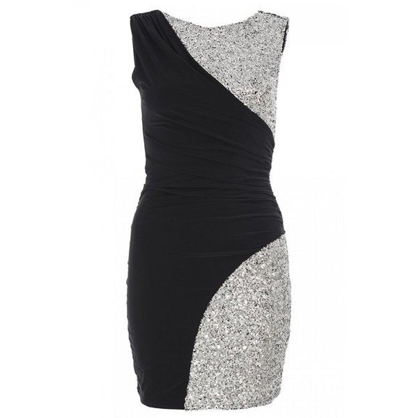 Black and Silver Sequin Sleeveless Bodycon Dress ($20) ❤ liked on Polyvore featuring dresses, women's dresses & skirts, body con dress, sleeveless bodycon dress, black silver sequin dress, sequin dress and bodycon dresses