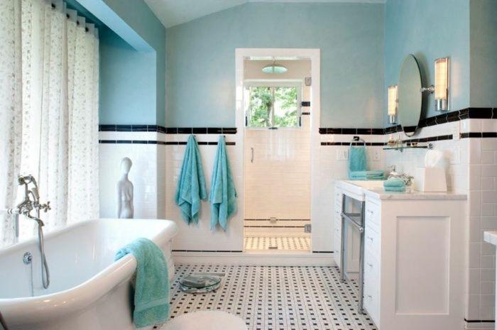 Bodenfliesen schwarz weiß Wand in blauer Farbe Mehr