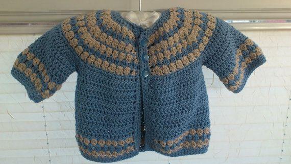 Crochet baby boys cardigan 3 months. Blue & by PreciousBySarah, £15.00