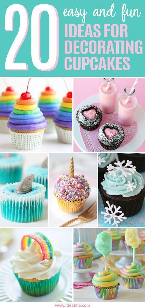 20 ideas fáciles y divertidas para decorar cupcakes   – Birthday Parties