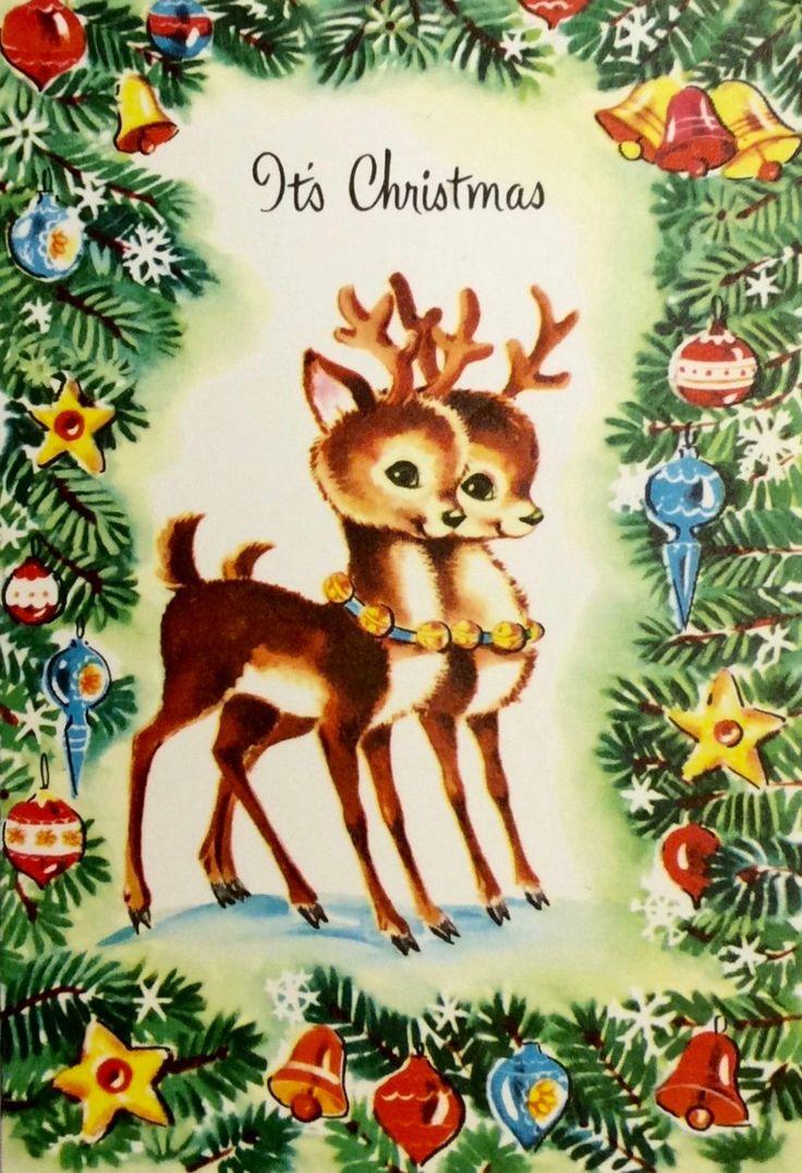 It's Christmas! Christmas Reindeer. Vintage Christmas Card.