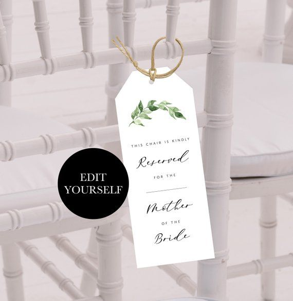 Personalized Reserved Chair Tags Printable Wedding Seat Tag Etsy Printable Tags Template Printable Tags Wedding Chair Signs