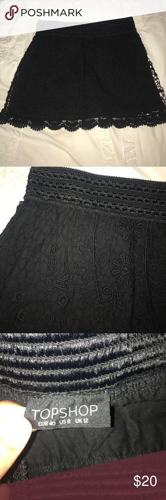 Black Crochet Topshop Skirt! Black crochet mini skirt from Topshop! Never worn, excellent condition! Topshop Skirts Mini