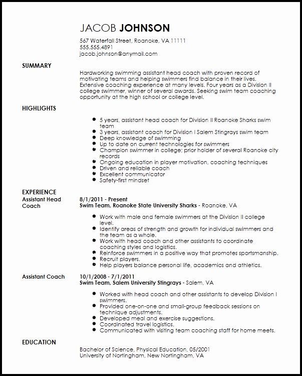 Student Athlete Resume Example Best Of Free Professional Sports Coach Resume Template Sports Coach Resume Examples Resume Template
