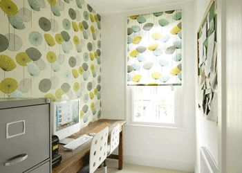 Curtain Ideas for Green Walls | green-wallpapers-window-treatment-curtains-leave-pattern