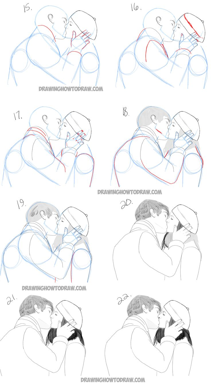 Easy Step By Step Drawing Tutorial: How To Draw Two People Kissing Who Are In Love