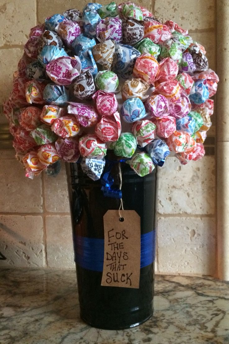 Dum dum thin blue line TBL lollipop bouquet for the days that suck. In memory of POP14 Deputy Danny Oliver Sacramento County Sheriff Department