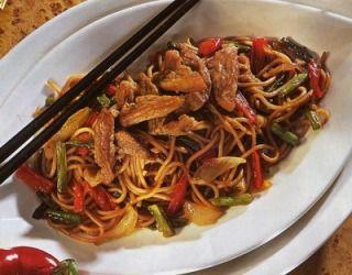 Recette - Porc sauté aux nouilles chinoises | 750g