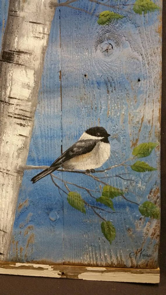 Hand painted White Birch, Bird, Wall art, barn wood, Reclaimed Wood Pallet Art, Rustic and Shabby Chic  Dimensions are appx 17 inches wide x 19 inches high  Original painting on wood. This unique piece is 3 pieces of reclaimed wood, painted in shades of sky blue, and slightly aged. Using acrylic paints, I hand painted the birch trunks, and a chickadee. You can choose to have with or without leaves.  The top and bottom are accented with a strip of old, peeling white painted barn wood.  Ready…