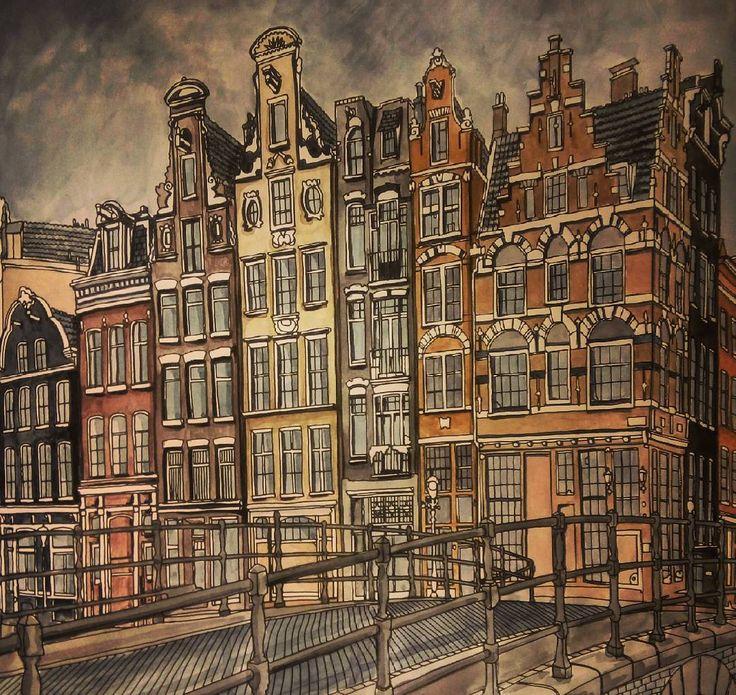 """#fantasticcities #coloringbook #drawing #amsterdam"""