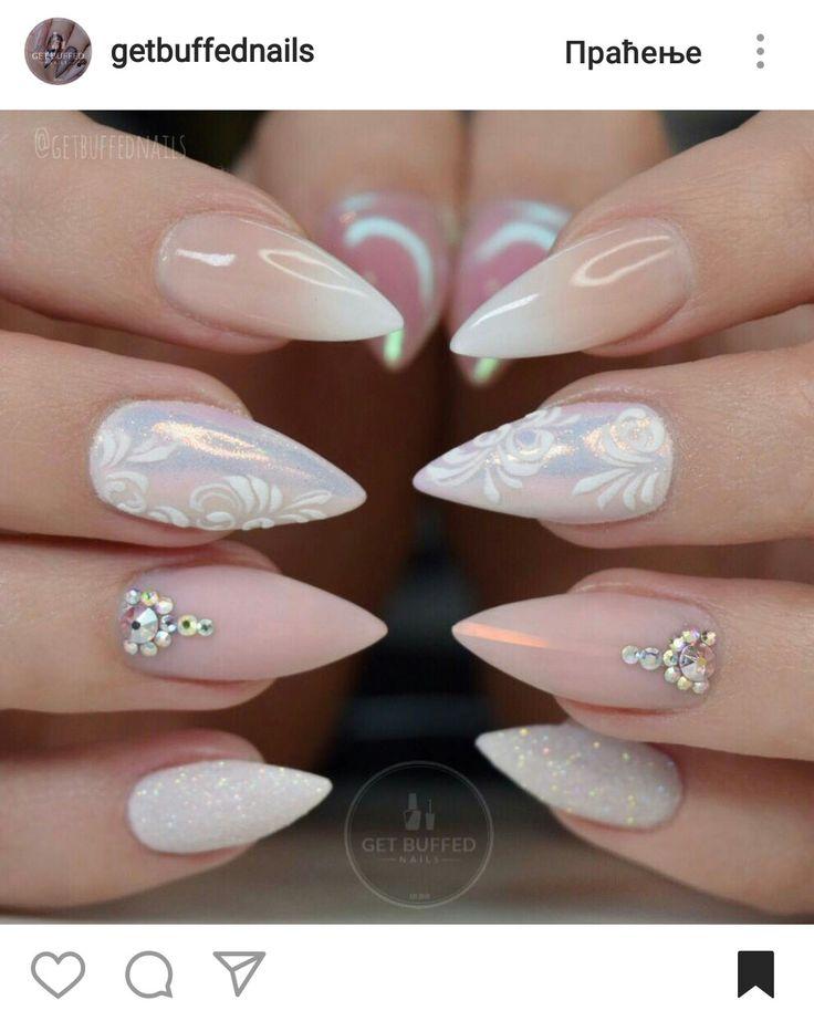 Stiletto nude ombre glitter nails #getbuffednails