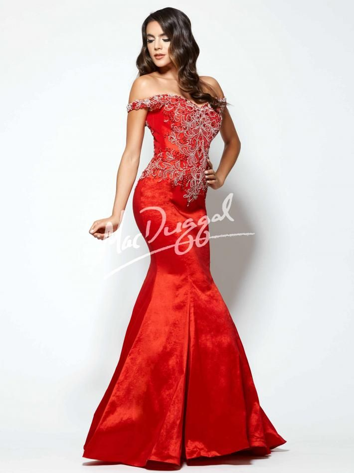 Red Pageant Dress | Off the Shoulder Prom Dress | Mac Duggal 61970Y